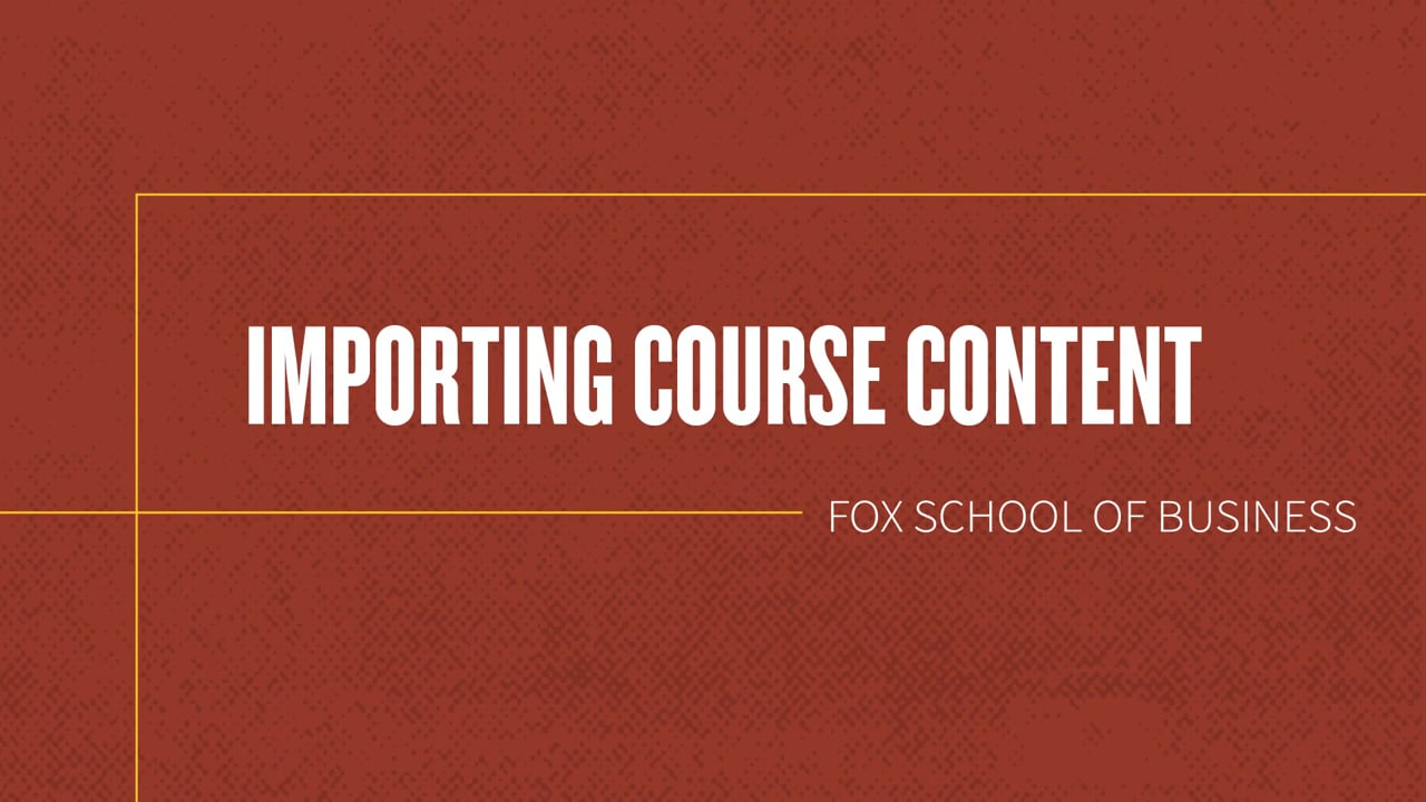 61836Importing Course Content