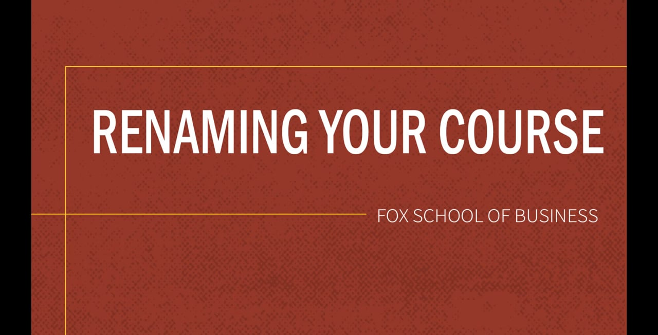 61839Renaming Your Course
