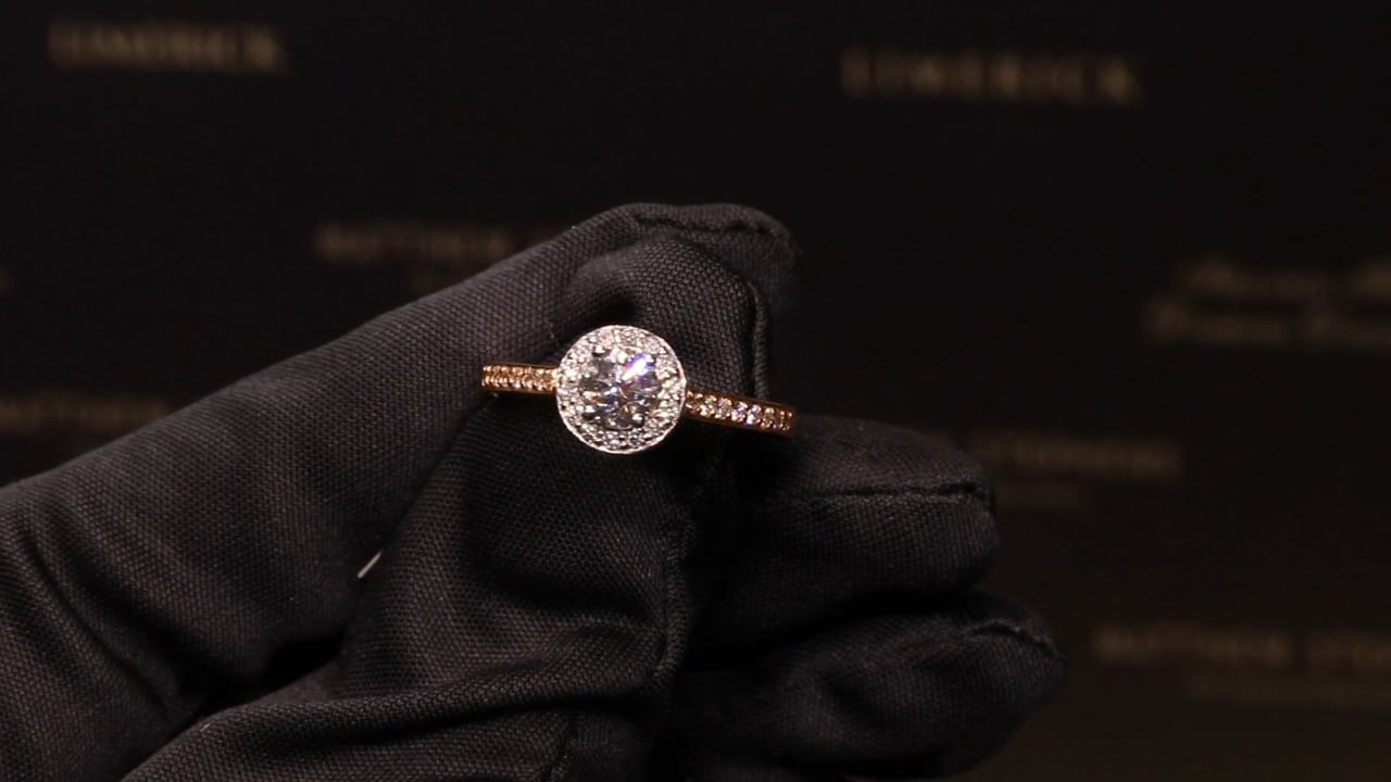 53899 & 38536 - Round Brilliant Halo with DSS, T0.83ct, Set in 18ct Rose Gold and matching Diamond Wedding Band T0.24ct