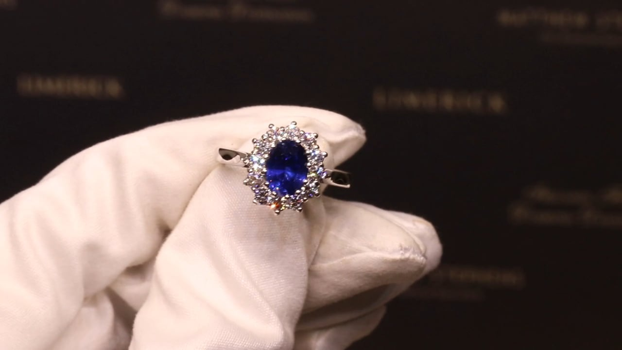 45349 - Oval Sapphire & Diamond Cluster Ring, S1.50ct & D0.66ct, Set in 18ct White Gold