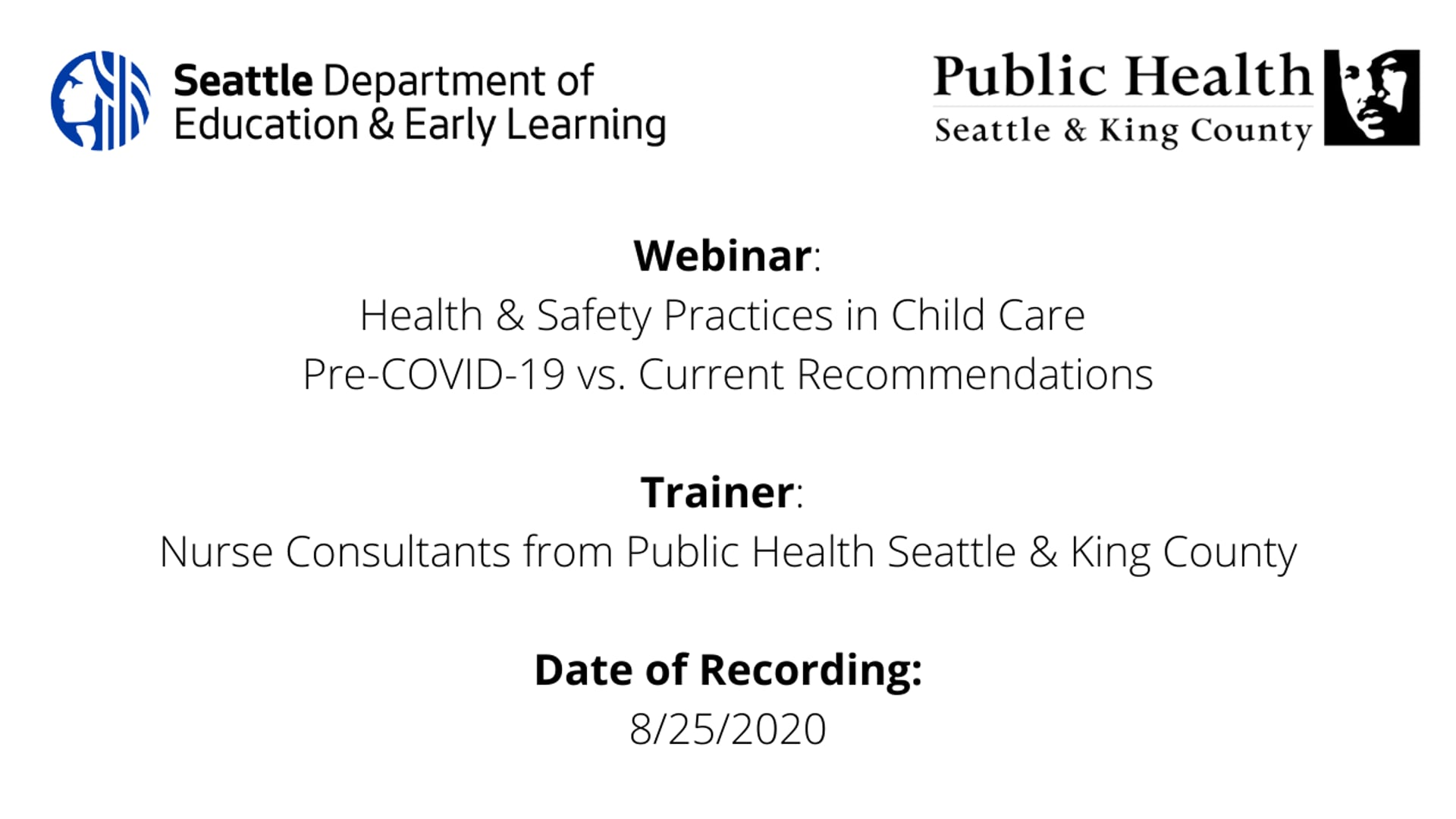 Health & Safety Practices in Child Care Pre-COVID-19 vs. Current Recommendations