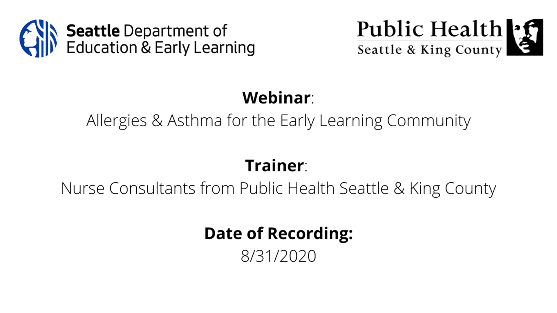 Allergies & Asthma for the Early Learning Community