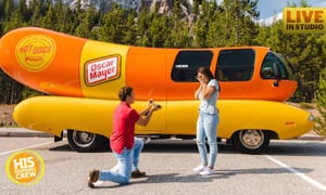 SC Man proposes in front of the Oscar Mayer Wienermobile!