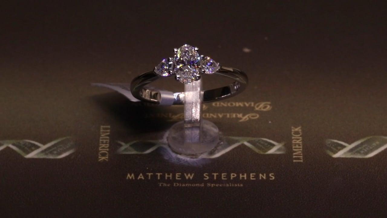73487 - Oval & Pear Three Stone, T0.79ct, Set in Platinum
