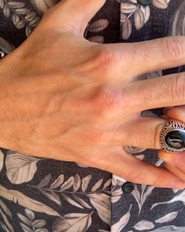 Video: Gealterter Effekt 925 Sterlingsilber Onyx Biker Ringe