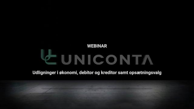 Uniconta webinar – Udligninger i økonomi, debitor og kreditor samt opsætningsvalg