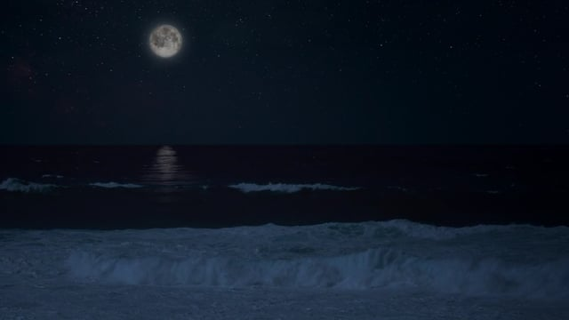 Calming Sounds of Night Ocean - 4K HDR Nature Relax Video