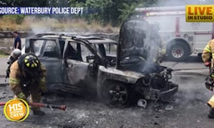 Teenager saves family from a car fully engulfed in flames!