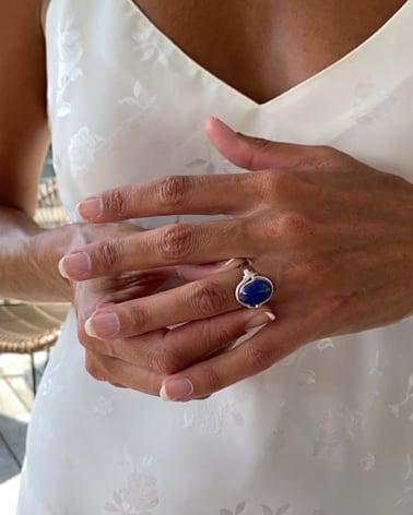 Video: 925 Sterlingsilber Lapis Lazuli Ovale Form Ringe