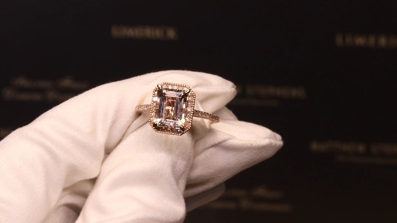 70732 - Emerald Cut Morganite with Diamond Halo & Shoulders, Set in Rose Gold