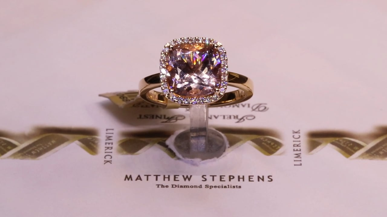 68850 - Cushion Morganite with Diamond Halo, Set in 18ct Rose Gold