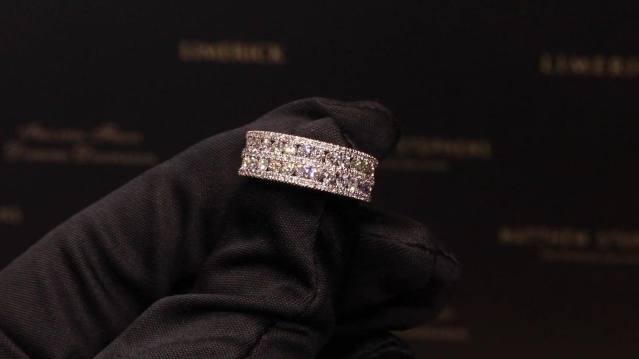58947 - Round Brilliant Five Row Diamond Ring, T1.01ct, Set in 18ct White Gold