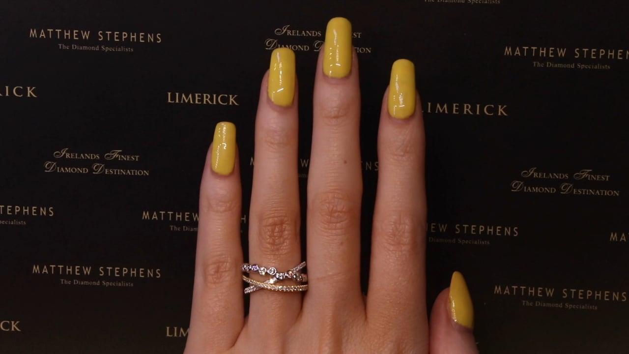 67752 - Three Row Round Brilliant Diamond Crossover Ring, Set in White & Yellow Gold, T0.67ct