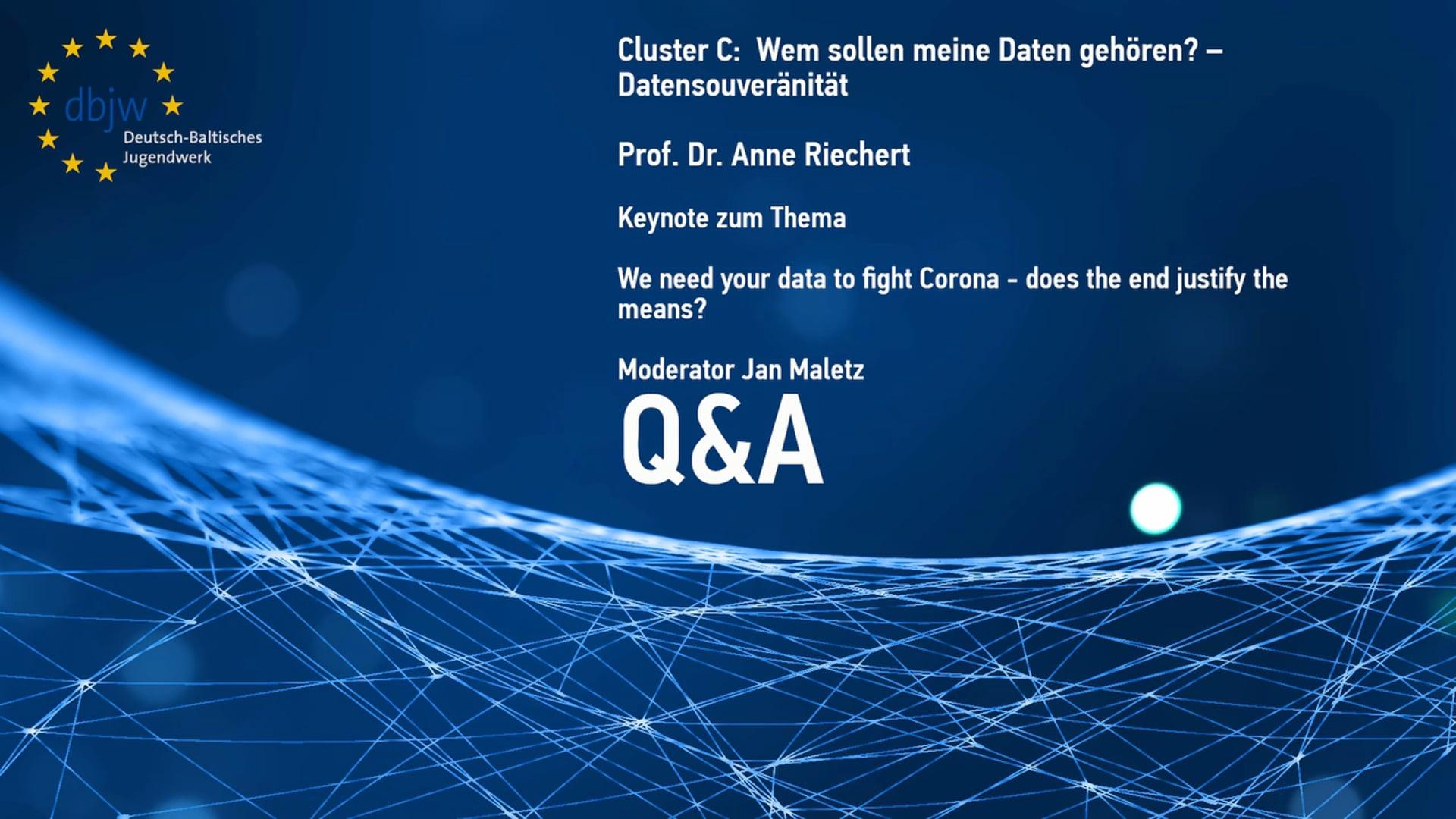 DBKDigital20 Keynote Cluster C – Question and Answer