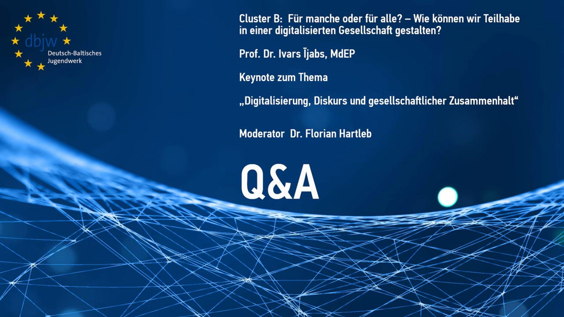 DBKDigital20 Keynote Cluster B – Question and Answer