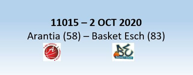 N1H 11015 Arantia Larochette (58) - Basket Esch (83) 02/10/2020