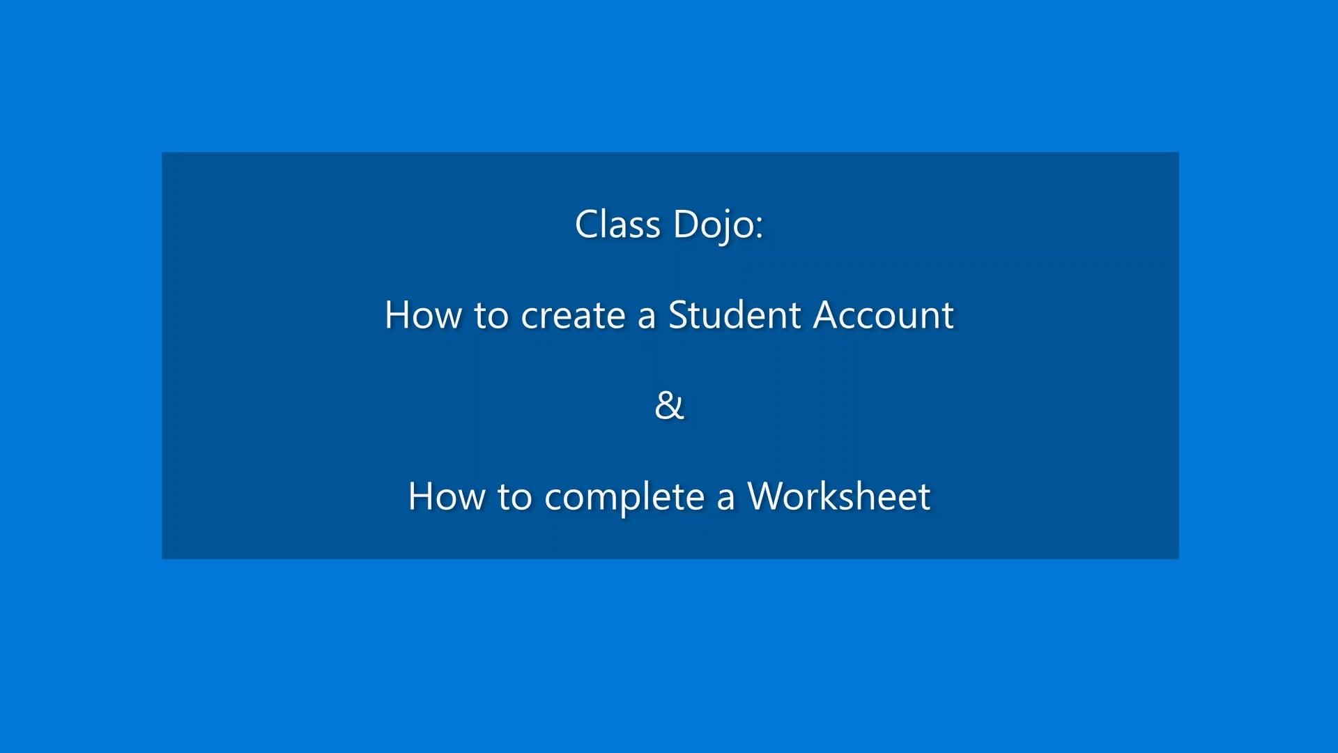 YSZ Class Dojo Worksheet