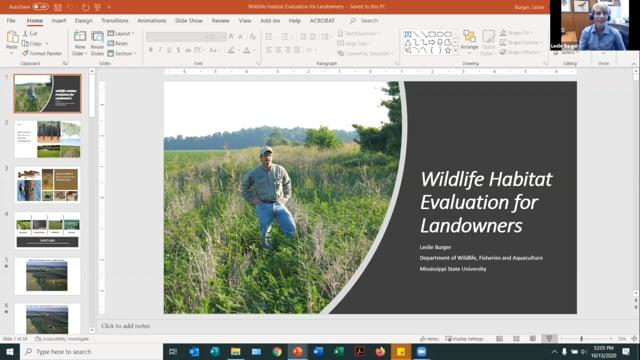 Wildlife Habitat Evaluation for Landowners, Dr Leslie Burger 10-13-20