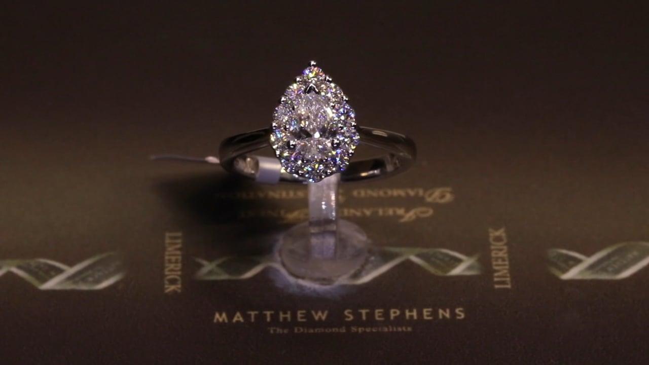 70896 - Pear Halo Diamond Ring, T0.92ct, Set in Platinum