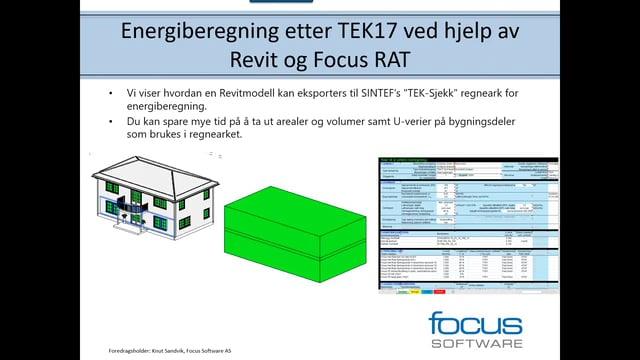 Energiberegning etter TEK17 ved hjelp av Revit og Focus RAT