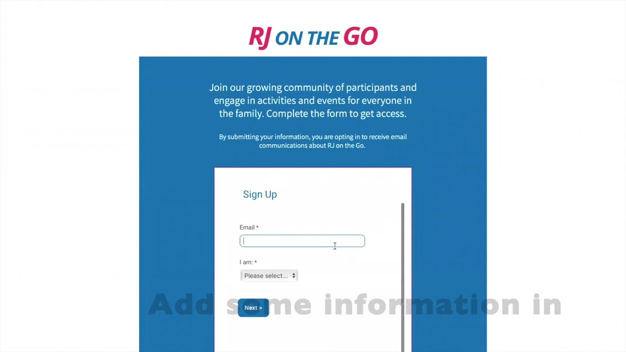 Setting up an RJ on the GO account