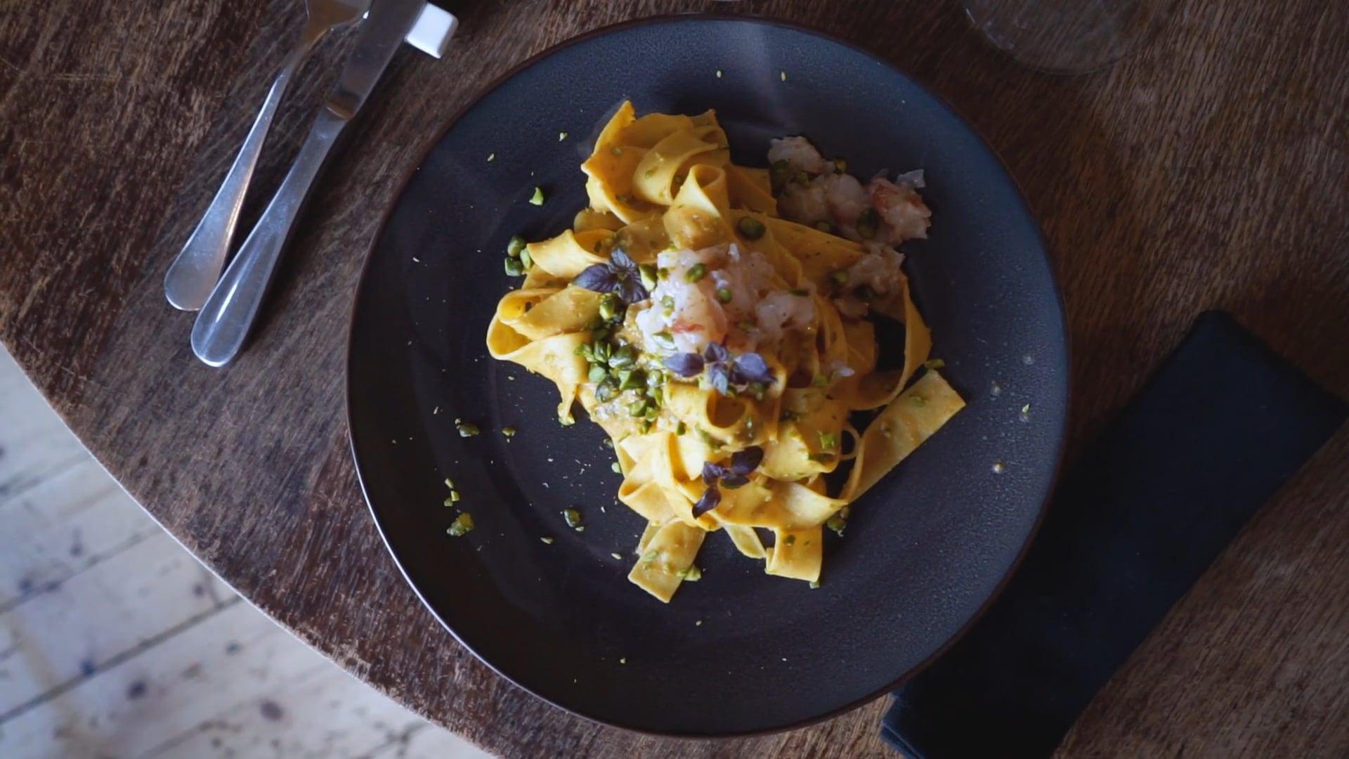 Restaurant Palo Alto: Pasta con gambas y pistachos