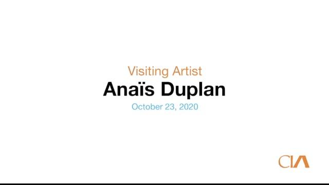 Visiting Artist: Anaïs Duplan 10.23.20