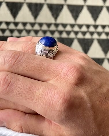 Video: Gealterter Effekt 925 Sterlingsilber Lapis Lazuli Biker Ringe