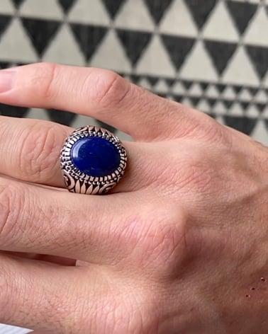 Video: 925 Sterlingsilber Lapis Lazuli Ovale Form Biker Ringe