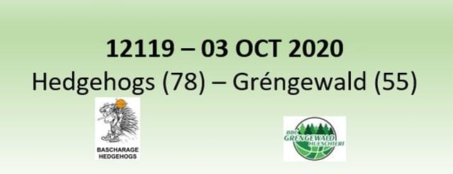 N2H 12119 Bascharage Hedgehogs (78) - Grengewald Hueschtert (55) 03/10/2020