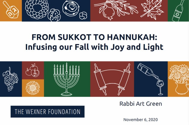 From Sukkot to Hannukah – Infusing our Fall with Joy and Light Session 3