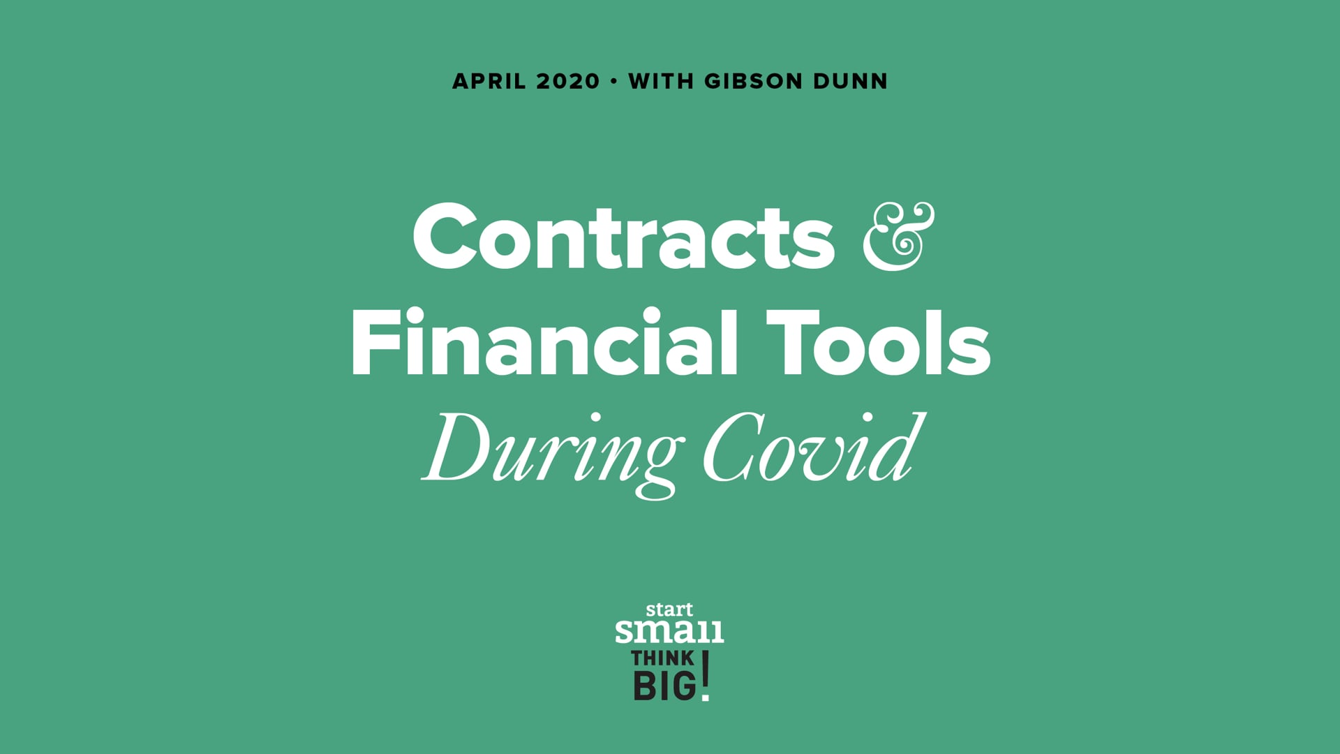 COVID-19 Management: Contracts and Financial Tools